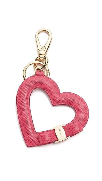 Salvatore Ferragamo Vara Bow Heart Keychain  96ad2efcc2891