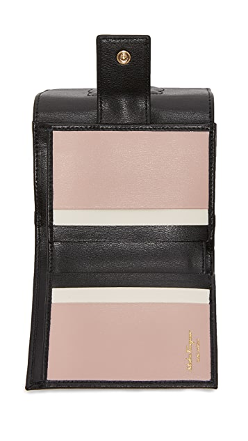 Salvatore Ferragamo Embossed Gancini Mini Wallet