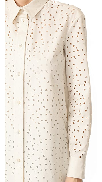 Salvatore Ferragamo Embroidered Eyelet Blouse