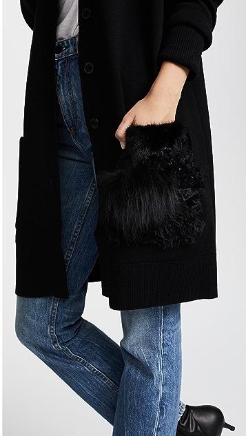 Salvatore Ferragamo Cardigan with Fur Pocket