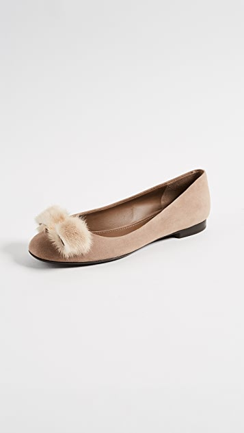 Salvatore Ferragamo Varina Flats with Fur Pom Poms