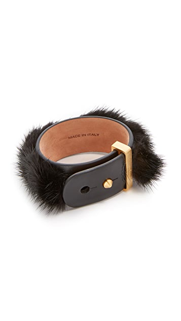 Salvatore Ferragamo Fur Leather Wrap Bracelet