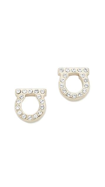 Salvatore Ferragamo Small Crystal Gancio Stud Earrings - Gold/Clear