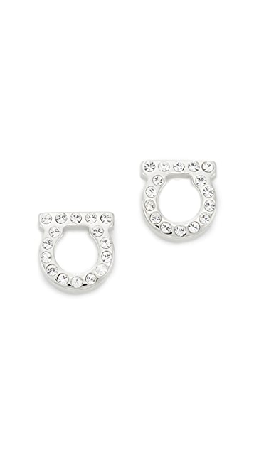 Salvatore Ferragamo Small Crystal Gancio Stud Earrings - Silver/Clear