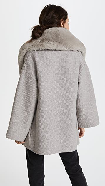 Salvatore Ferragamo Sweater Coat with Fur Trim