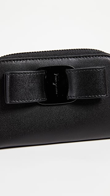 Salvatore Ferragamo Vara Rainbow Zip Around Card Case