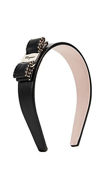 Salvatore Ferragamo Studded Vara Bow Headband