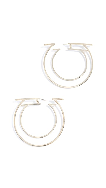 Salvatore Ferragamo Due Gancini Hoop Earrings