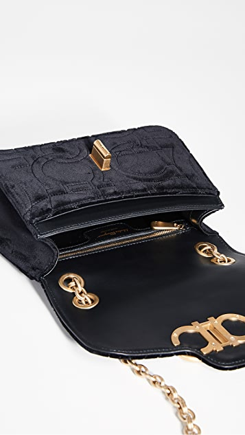 Salvatore Ferragamo Gancino Quilting Velvet Shoulder Bag
