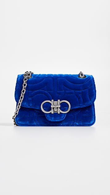 Salvatore Ferragamo Gancino Quilting Velvet Shoulder Bag