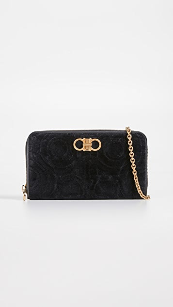 Salvatore Ferragamo Gancino Quilting Wallet on a Chain