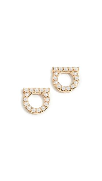 Salvatore Ferragamo Gancio Stud Imitation Pearl Earrings
