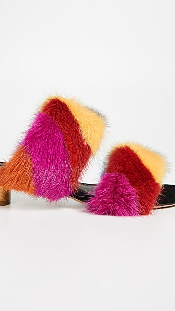 Salvatore Ferragamo Belluno Fur Slides