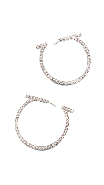 Salvatore Ferragamo Imitation Pearl Creola Hoop Earrings