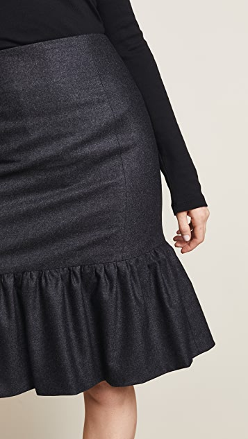 Salvatore Ferragamo Drop Waist Flannel Skirt
