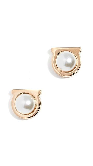 Salvatore Ferragamo Imitation Pearl Gancio Stud Earrings
