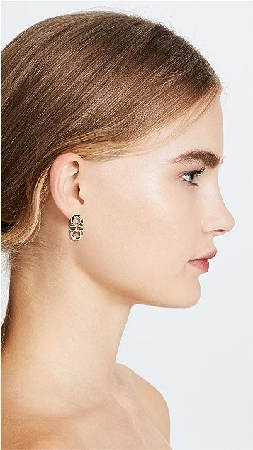 Salvatore Ferragamo Double Gancio Stud Earrings