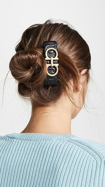 Salvatore Ferragamo Кожаная заколка для волос с логотипом