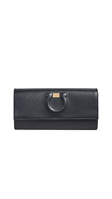 Salvatore Ferragamo Gancio City Continental Flap Wallet