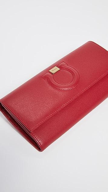 Salvatore Ferragamo Gancio City Continental Flap Wallet