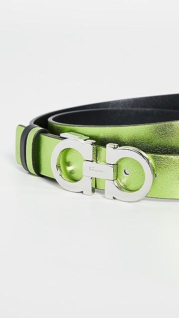 Salvatore Ferragamo Metallic Thin Logo Belt