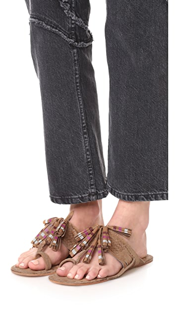 Figue Striped Tassel Scaramouche Sandals