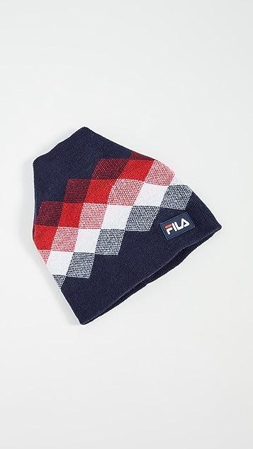 Fila Jacquard Knit Cuffed Colorblocked Beanie