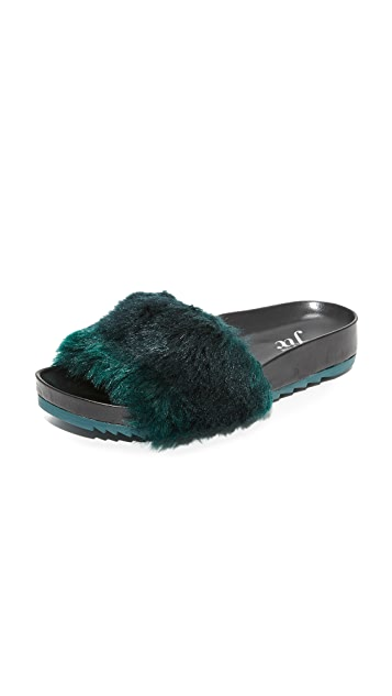 The Fix Ursula Slides - Dark Green/Black