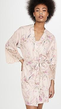 Jasmine Knit Wrap With Lace Trim