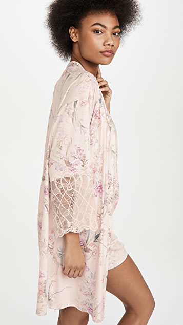 Flora Nikrooz Jasmine Knit Wrap With Lace Trim