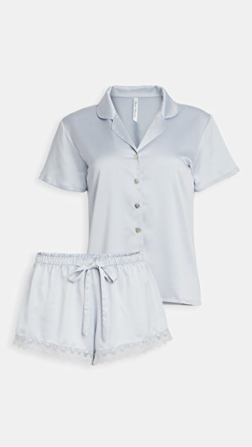 Flora Nikrooz Victoria Charmeuse Notch Short PJ Set