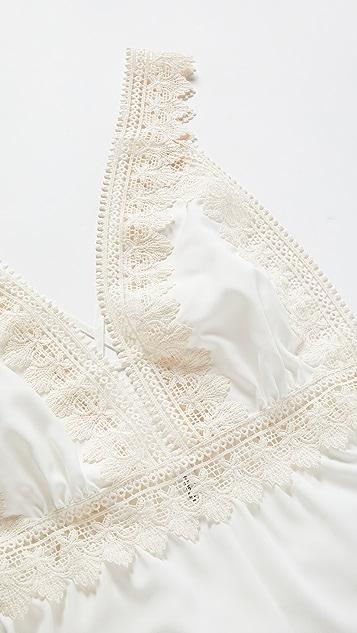 Flora Nikrooz Matte Romper with Crochet Trim
