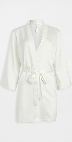 Flora Nikrooz - Solid Charmeuse Wrap Robe with Lace Trim