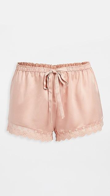 Flora Nikrooz 纯色蕾丝软缎短裤