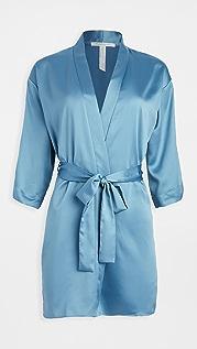 Flora Nikrooz 纯色软缎围裹式长袍