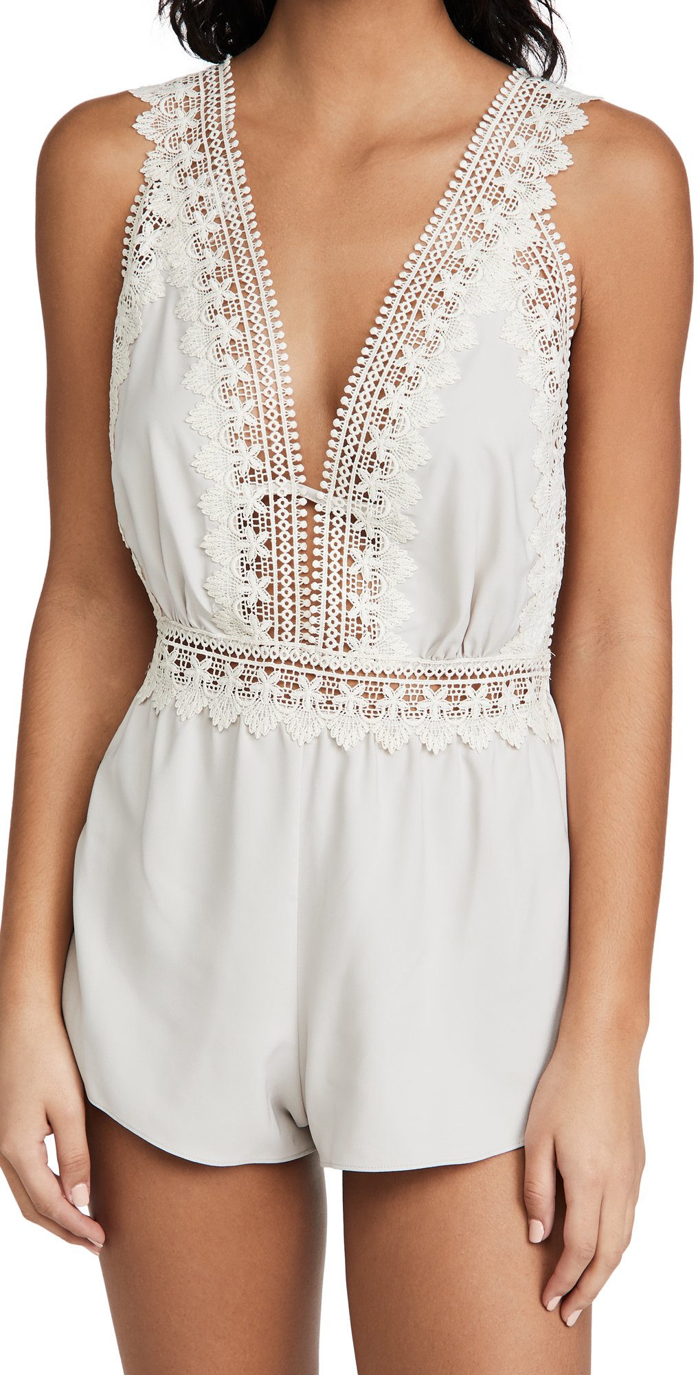 Blythe Matte Charmeuse Romper with Lace