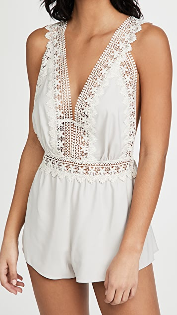 Flora Nikrooz Blythe Matte Charmeuse Romper with Lace