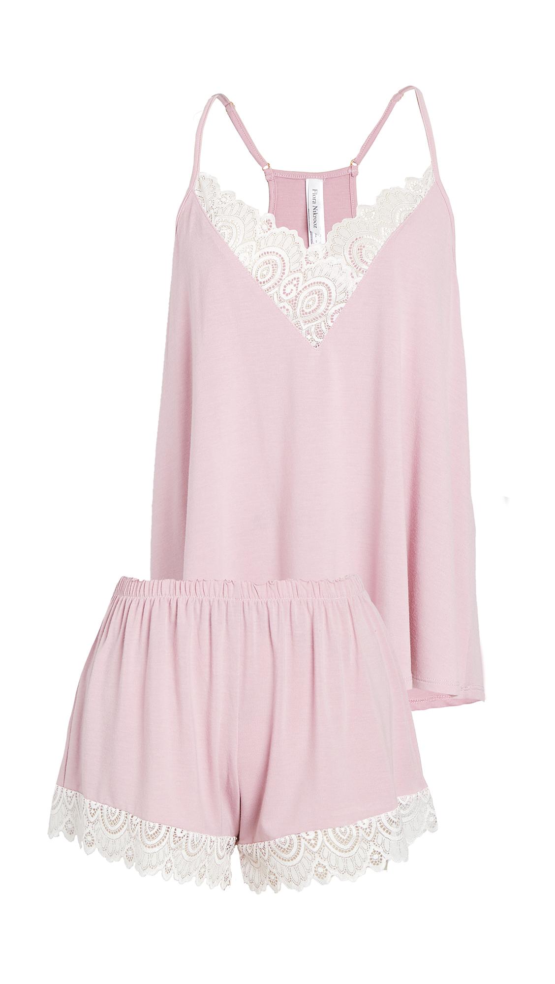 Flora Nikrooz Floretta II Knit Cami Pajama Set with Lace Trim