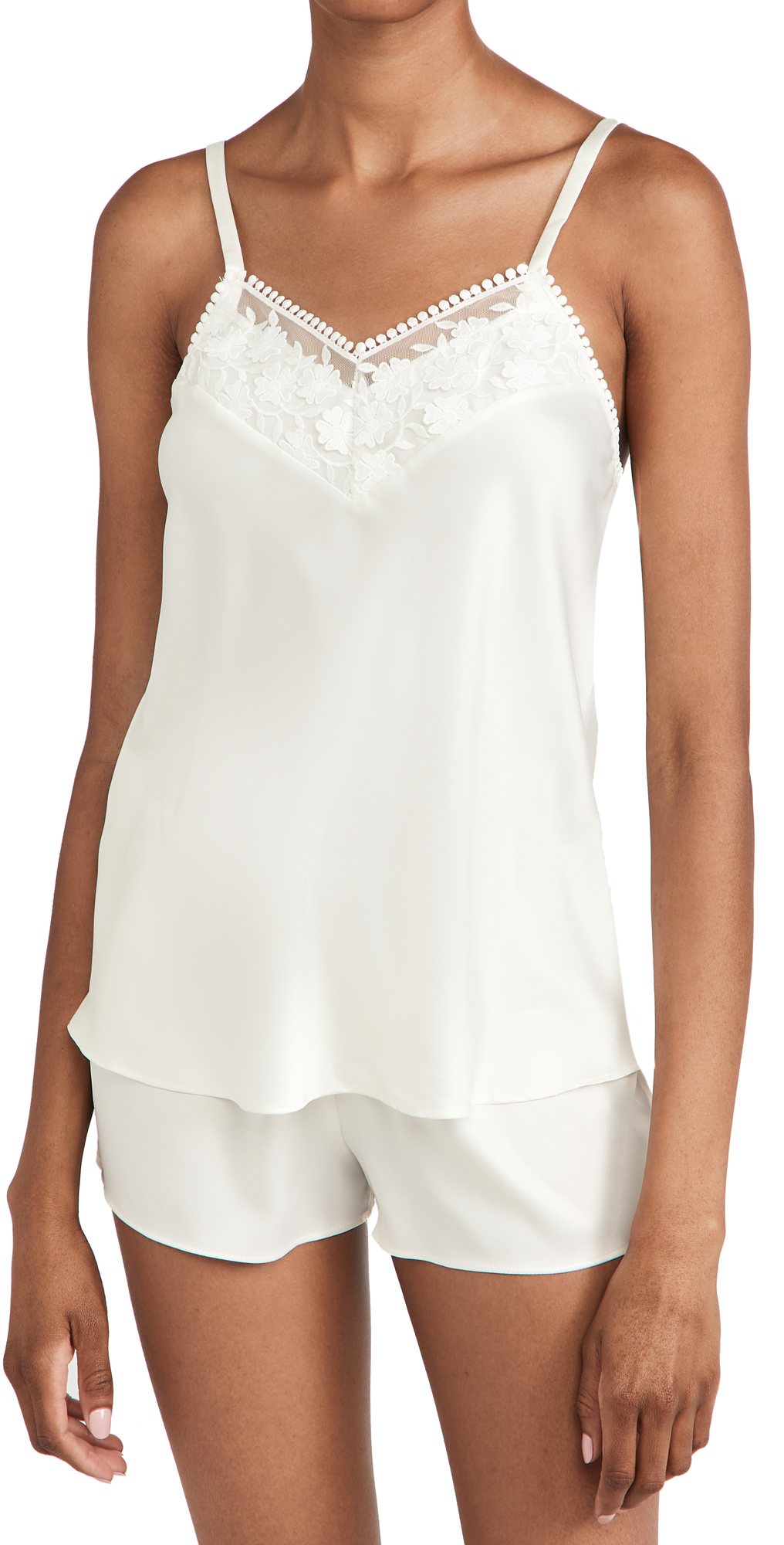 Kylie Charmeuse Cami Set with Lace