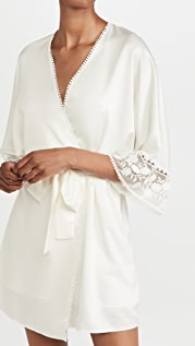 Flora Nikrooz Kylie Charmeuse Wrap with Lace