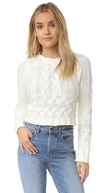 For Love & Lemons Knitz Greenwich Crop Sweater
