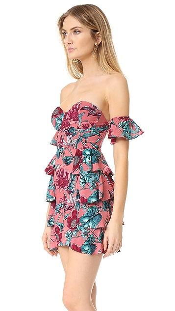 For Love & Lemons Flamenco Strapless Dress