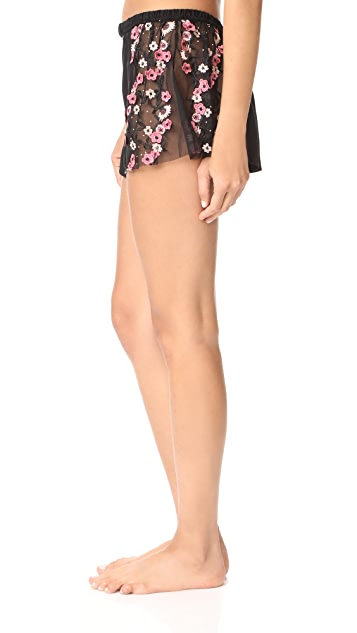 For Love & Lemons Hibiscus Silk Sleep Shorts