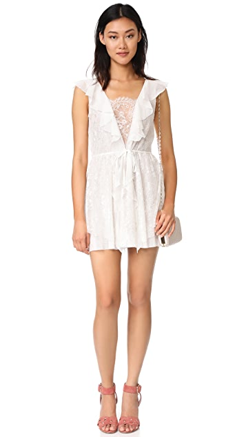 For Love & Lemons Stardust Lace Drawstring Dress