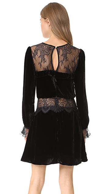 For Love & Lemons Beatrix Velvet Lace Dress