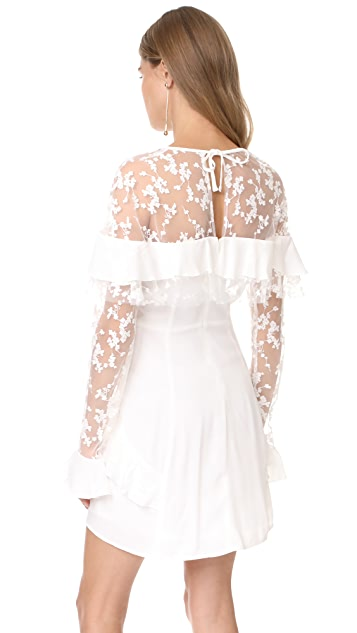 For Love & Lemons Rosebud Embroidery Mini Dress