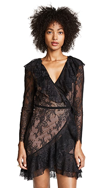 For Love & Lemons Daphne Lace Wrap Dress