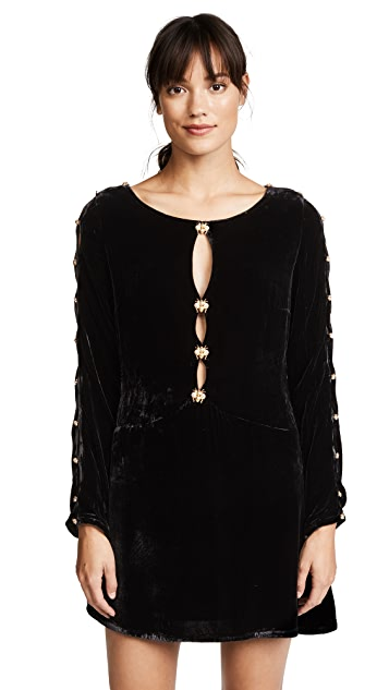 For Love & Lemons Beatrix Velvet Button Sleeve Dress