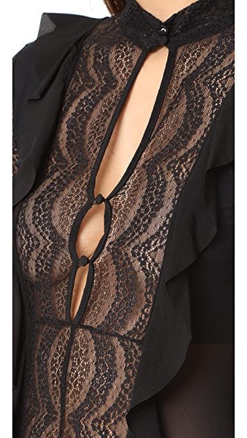For Love & Lemons Eva Lace Ruffle Thong Bodysuit