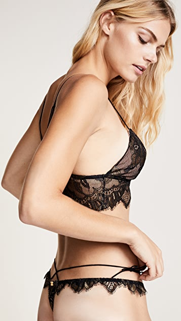 For Love & Lemons Esme Foil Lace Thong